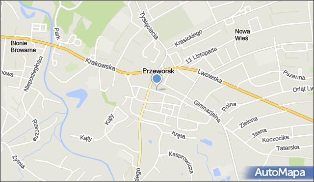Przeworsk, Kazimierzowska, mapa Przeworsk