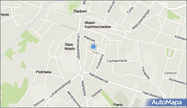Radom, Kanałowa, mapa Radomia