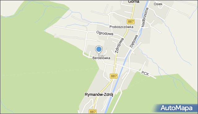 Rymanów-Zdrój, Kasztanowa, mapa Rymanów-Zdrój