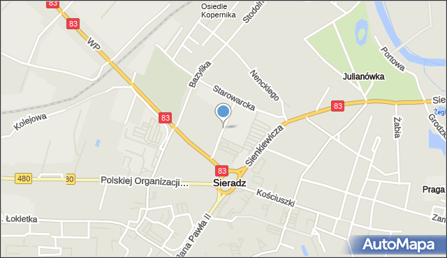 Sieradz, Kasztanowa, mapa Sieradz