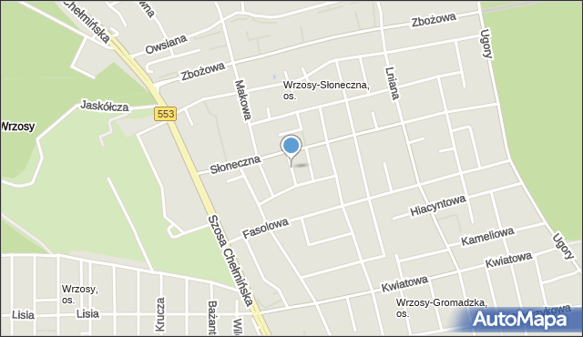 Toruń, Kąkolowa, mapa Torunia