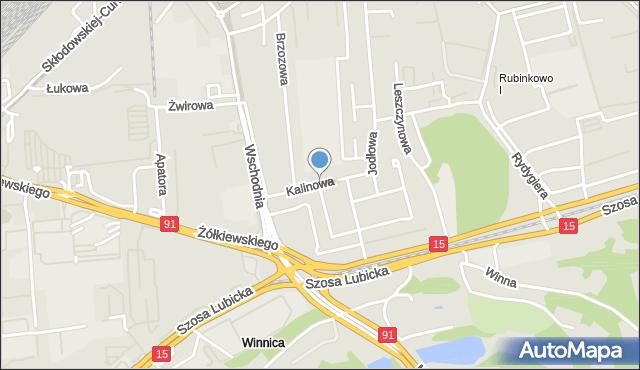 Toruń, Kalinowa, mapa Torunia