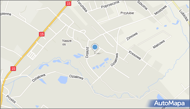 Toruń, Kamienna, mapa Torunia