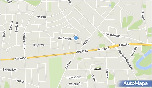 Toruń, Karnowskiego Jana, mapa Torunia