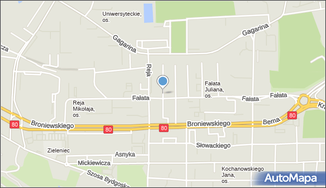 Toruń, Kasprowicza Jana, mapa Torunia