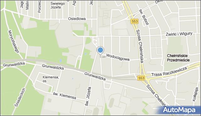 Toruń, Kaszubska, mapa Torunia