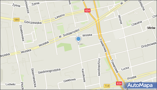 Warszawa, Karolkowa, mapa Warszawy