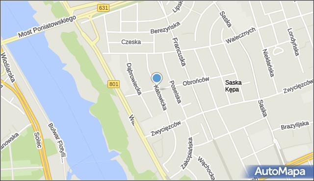 Warszawa, Katowicka, mapa Warszawy