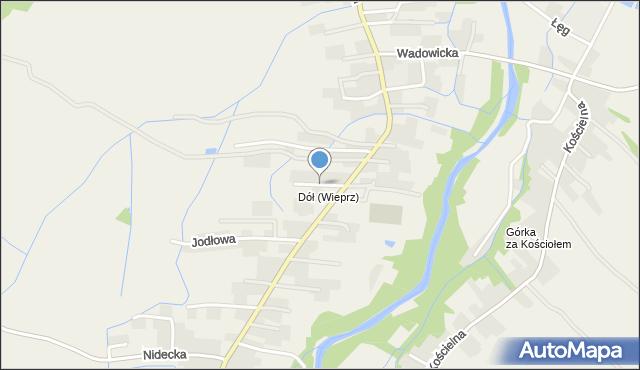 Wieprz powiat wadowicki, Kasztanowa, mapa Wieprz powiat wadowicki