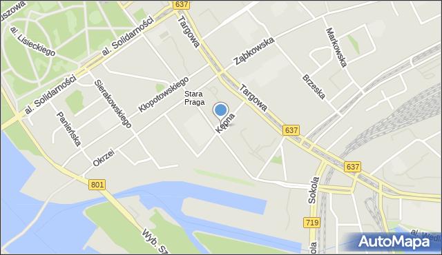 Warszawa, Kępna, mapa Warszawy