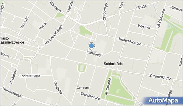 Radom, Kilińskiego Jana, płk., mapa Radomia