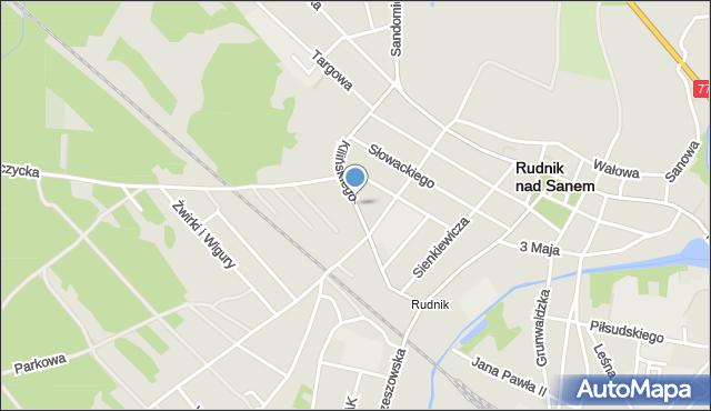 Rudnik nad Sanem, Kilińskiego Jana, płk., mapa Rudnik nad Sanem