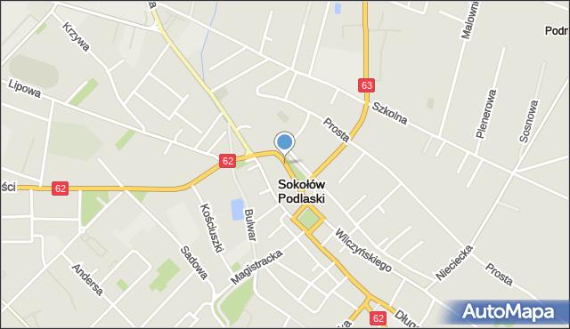 Sokołów Podlaski, Kilińskiego Jana, płk., mapa Sokołów Podlaski