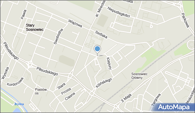 Sosnowiec, Kiepury Jana, mapa Sosnowca