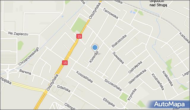 Toruń, Kielecka, mapa Torunia