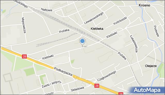 Krosno, Kletówki, mapa Krosna