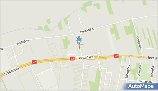 Łódź, Kłodzka, mapa Łodzi
