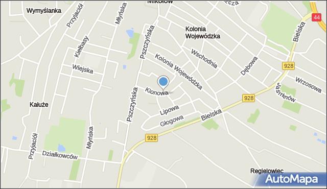 Mikołów, Klonowa, mapa Mikołów
