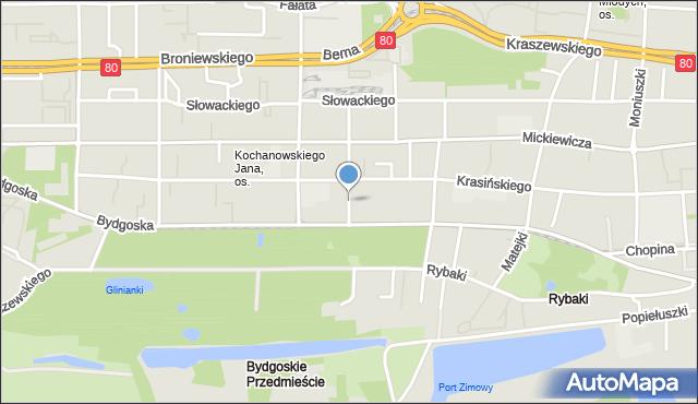 Toruń, Klonowica Sebastiana, mapa Torunia