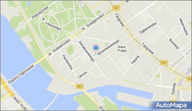 Warszawa, Kłopotowskiego Ignacego, ks., mapa Warszawy