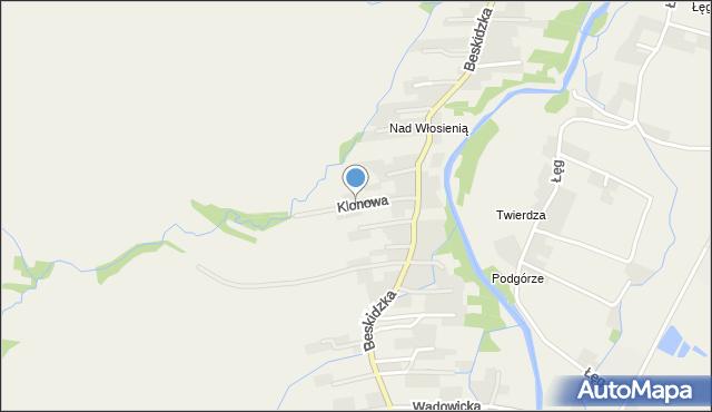 Wieprz powiat wadowicki, Klonowa, mapa Wieprz powiat wadowicki