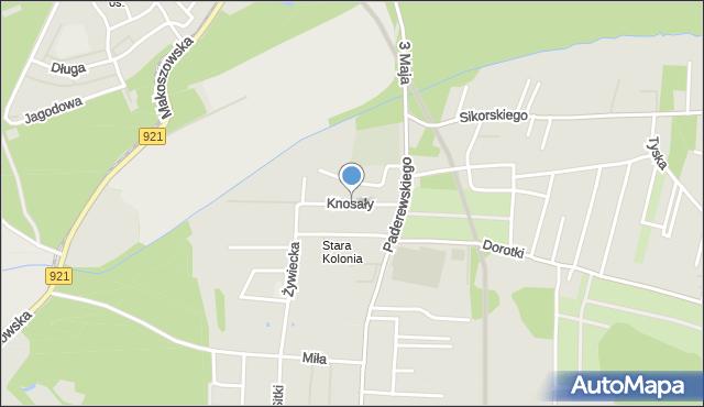 Zabrze, Knosały Józefa, ks., mapa Zabrza