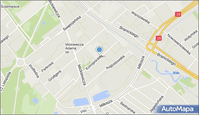 Białystok, Konopnickiej Marii, mapa Białegostoku