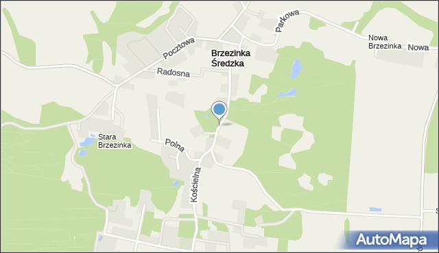 Brzezinka Średzka, Kościelna, mapa Brzezinka Średzka