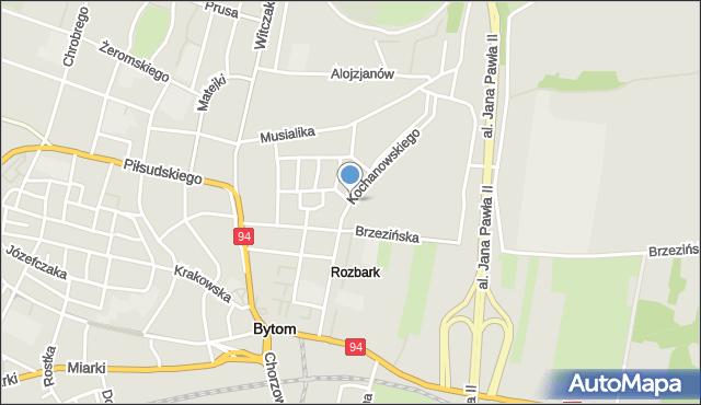 Bytom, Kochanowskiego Jana, mapa Bytomia