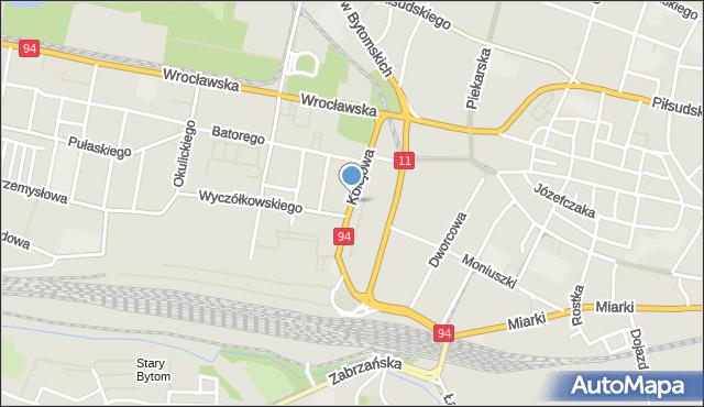 Bytom, Kolejowa, mapa Bytomia