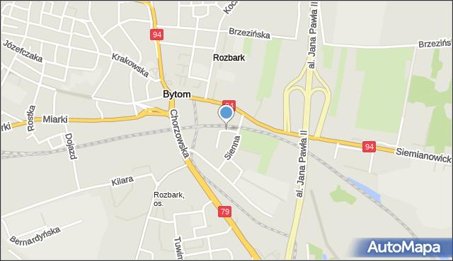 Bytom, Kopalniana, mapa Bytomia