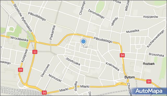 Bytom, Kościelna, mapa Bytomia