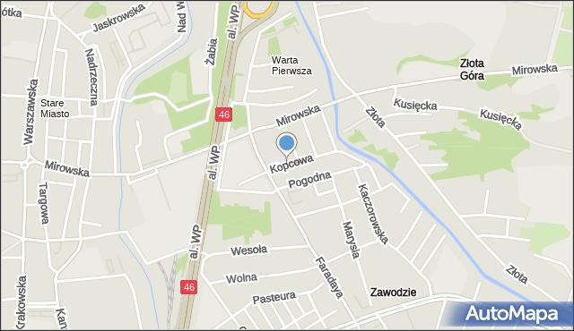 Częstochowa, Kopcowa, mapa Częstochowy