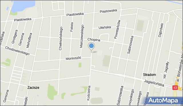 Częstochowa, Kościelna, mapa Częstochowy