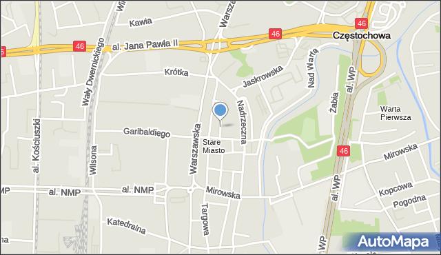 Częstochowa, Kozia, mapa Częstochowy