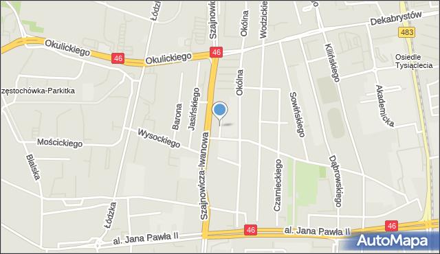 Częstochowa, Kozielewskiego Ignacego, mapa Częstochowy