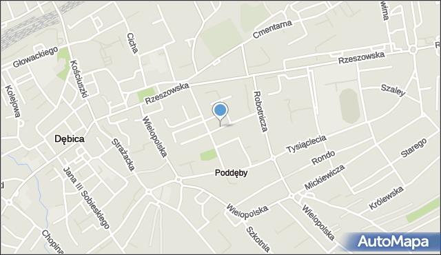 Dębica, Kochanowskiego Jana, mapa Dębicy