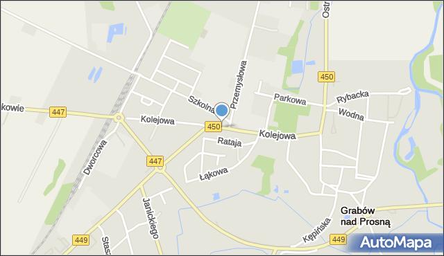 Grabów nad Prosną, Kolejowa, mapa Grabów nad Prosną