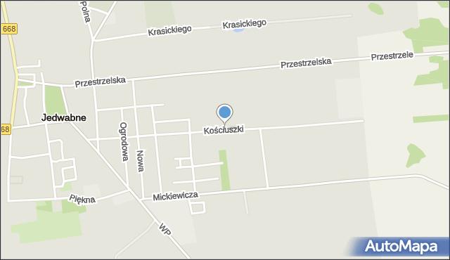 Jedwabne, Kościuszki Tadeusza, gen., mapa Jedwabne
