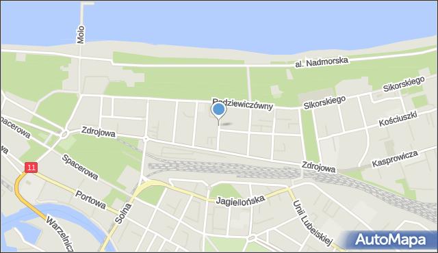 Kołobrzeg, Konopnickiej Marii, mapa Kołobrzegu