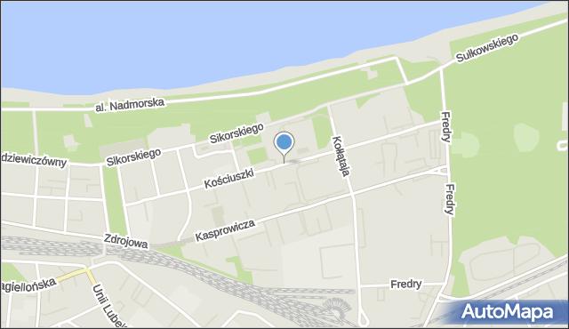 Kołobrzeg, Kościuszki Tadeusza, gen., mapa Kołobrzegu