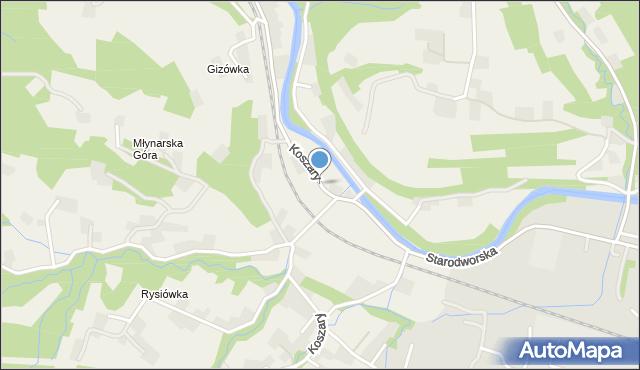 Koszary gmina Limanowa, Koszary, mapa Koszary gmina Limanowa