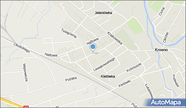 Krosno, Kolejowa, mapa Krosna