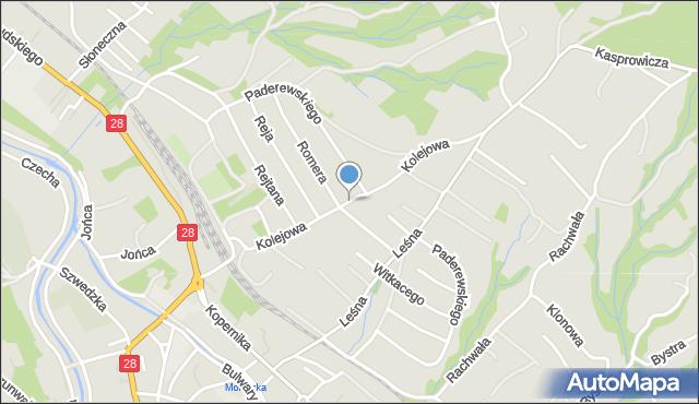 Limanowa, Kolejowa, mapa Limanowa