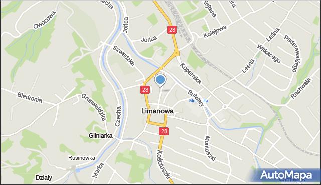 Limanowa, Konopnickiej Marii, mapa Limanowa