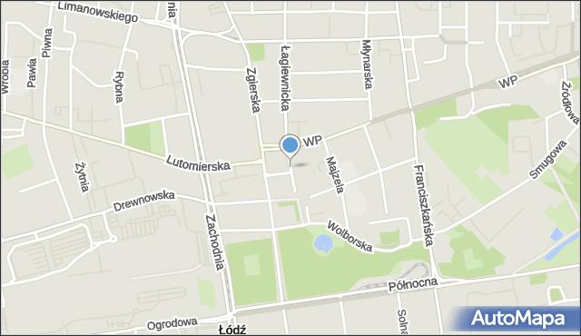 Łódź, Kościelna, mapa Łodzi