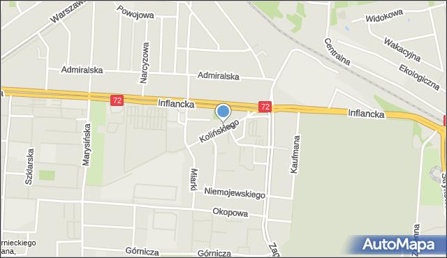 Łódź, Kolińskiego Józefa, dr., mapa Łodzi