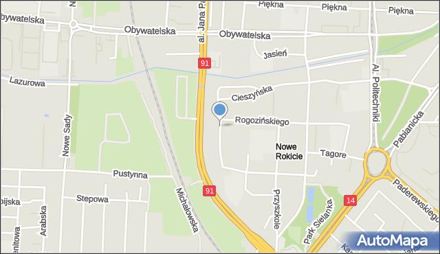 Łódź, Komfortowa, mapa Łodzi