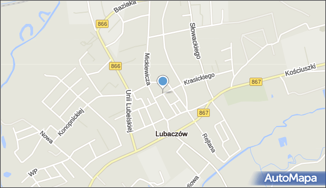 Lubaczów, Konery Stanisława, mapa Lubaczów