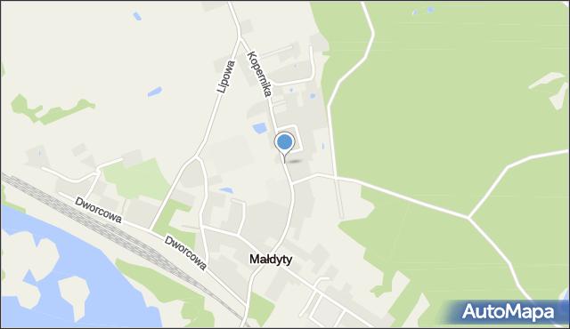 Małdyty, Kopernika Mikołaja, mapa Małdyty